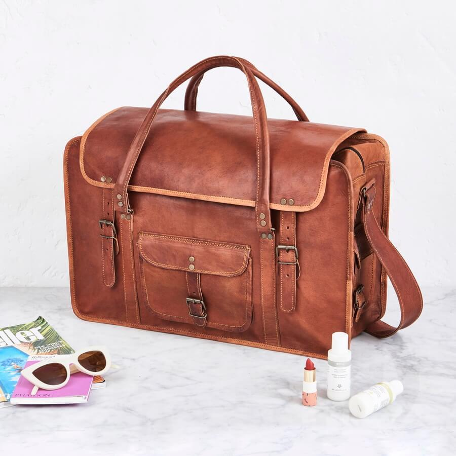 53afc0a6ea03 HomeLeather Fashion AccessoriesCraftShades Handmade Leather Bag (Expandable)  Travel Duffel Bag. 7%. Previous