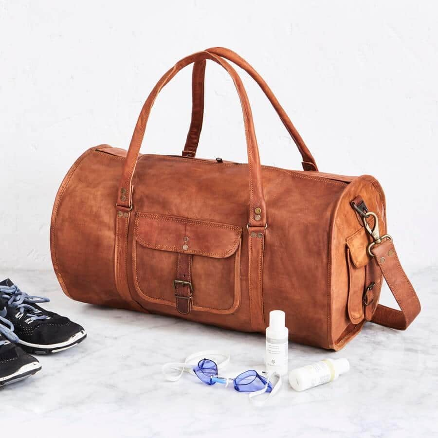 CraftShades Handmade Leather Duffle Bag For Travel 15504a6138e42