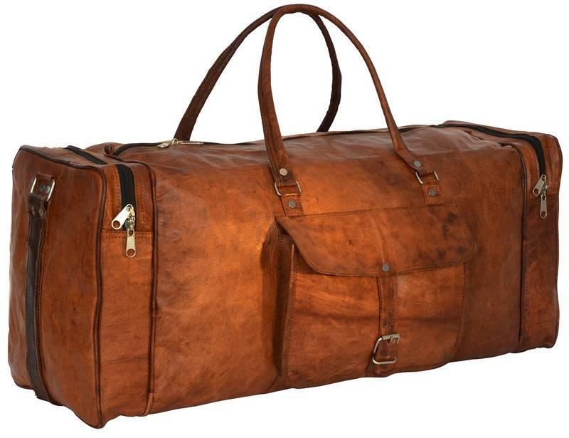 03117f54df09 Craftshades Handmade Leather Duffle Bag For Travel, Yoga & Gym (Expandable)  Gym Bag