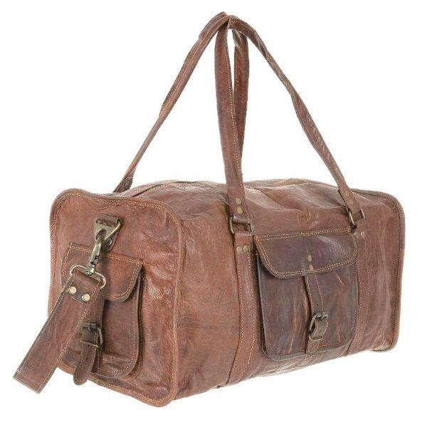 fd66305a9428 HomeLeather Fashion AccessoriesCraftShades Handmade Leather Bag (Expandable)  Travel Duffel Bag (Brown). 17%. Previous. Next