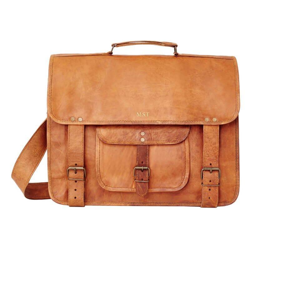 Laptop Shoulder Bag Vintage Leather Udaipur Previous