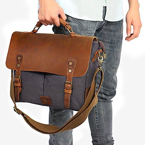 29b7b5f1b328 CraftShades Handmade Genuine Leather plus canvas laptop bag (Brown ...