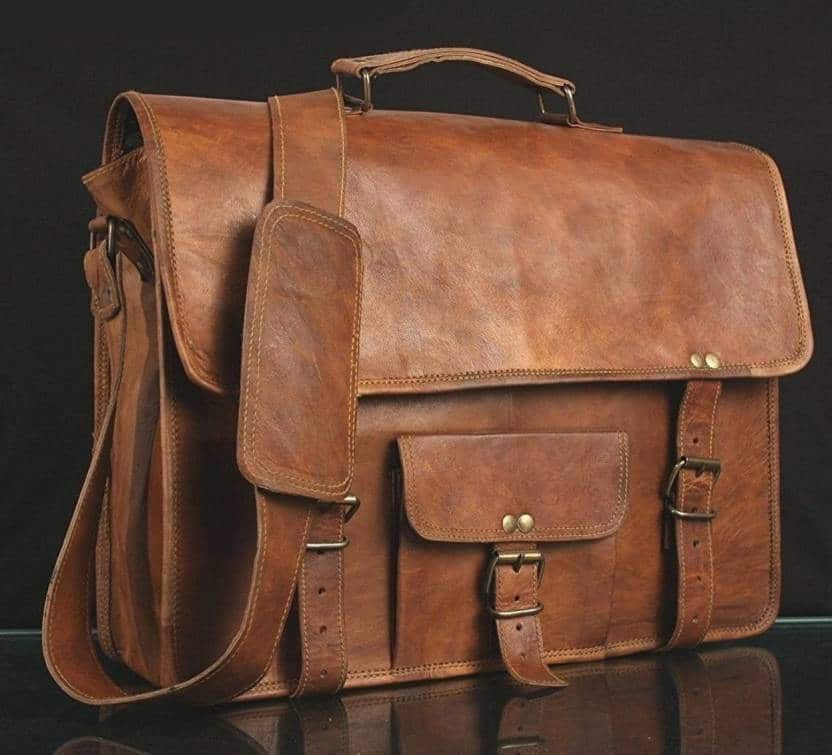 f161f4ce931d Leather Messenger Bag with pocket