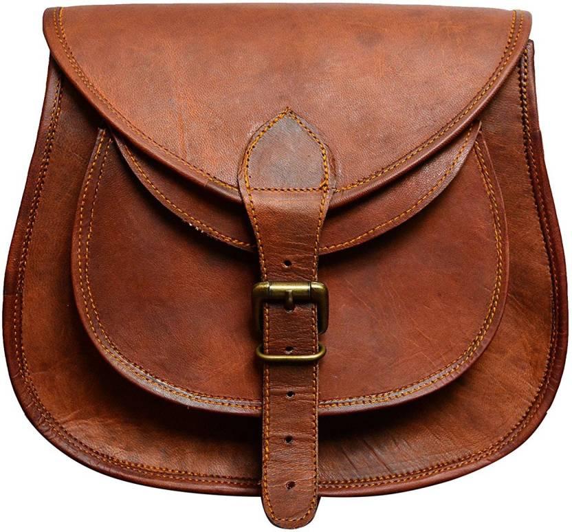 cc7e2e226537 Handmade leather bags Girls Tan Genuine Leather Sling Bag ...